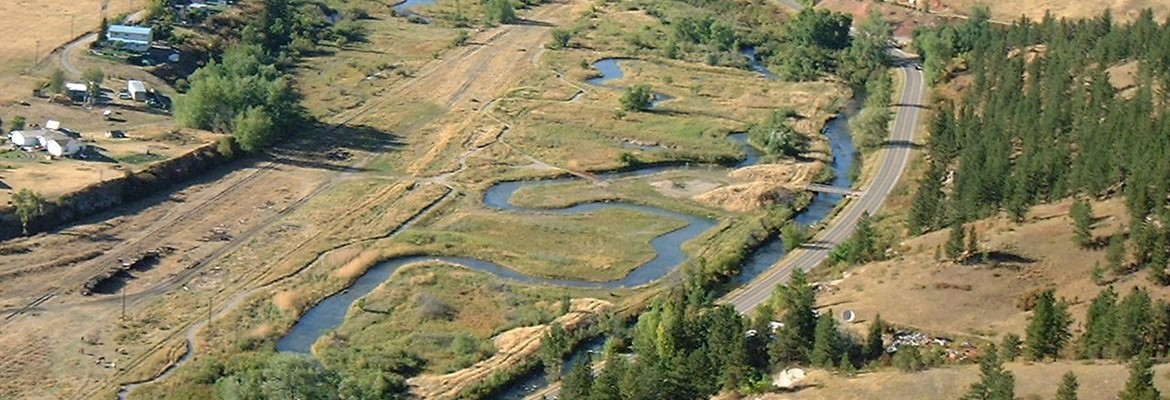 Aerial view of Brewery Flats stream restoration